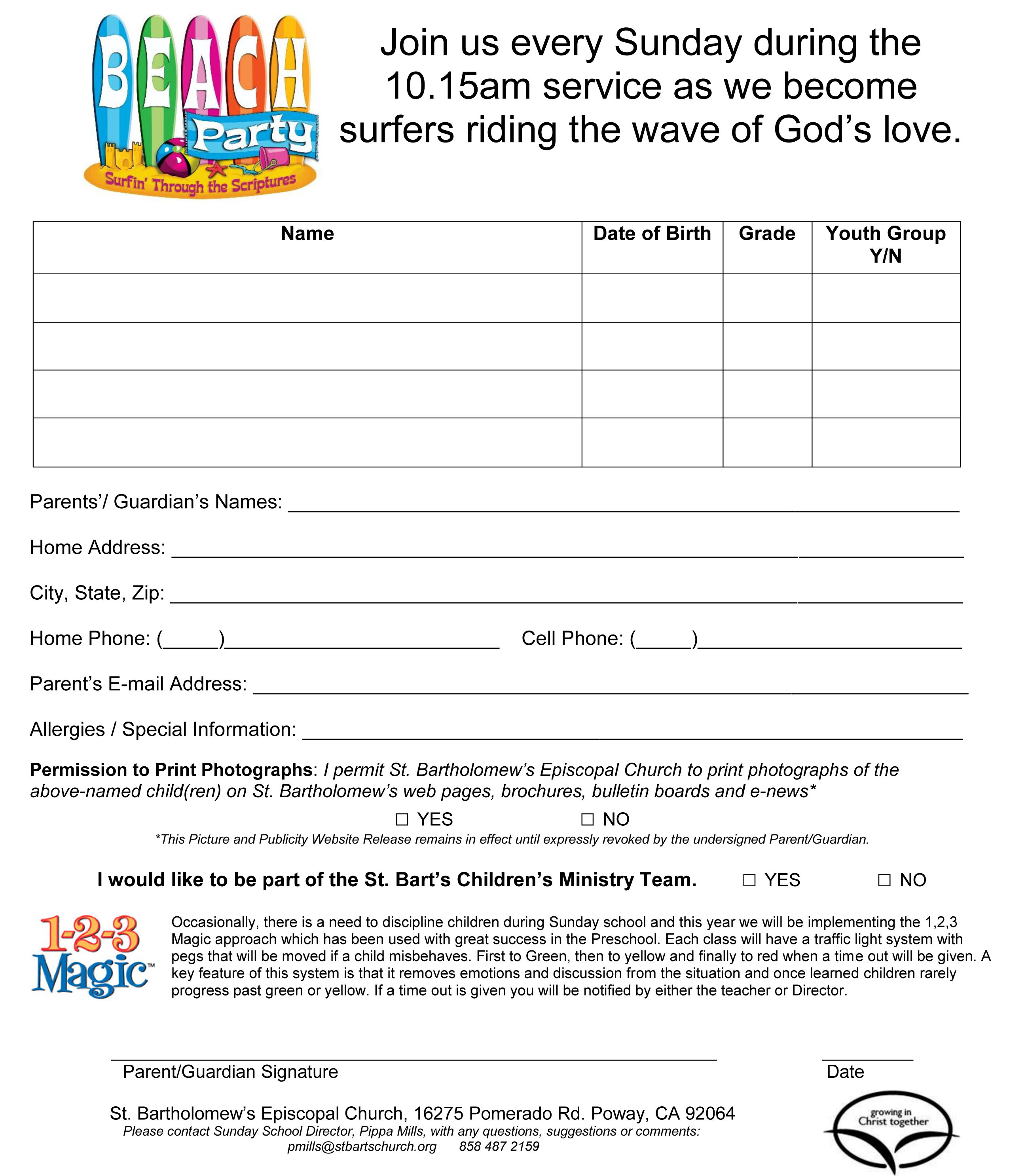 Sunday School Registration Form Template Pictures to Pin on – School Registration Form Template